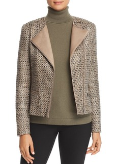 Lafayette 148 New York Trista Suede-Trimmed Metallic Tweed Jacket