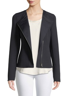 Lafayette 148 New York Trista Zip-Front Long-Sleeve Grid Cloth Jacket