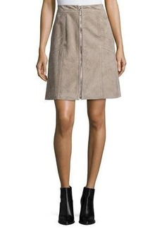 Lafayette 148 New York Turner Suede Zip-Front Skirt