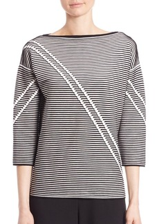 Lafayette 148 New York Two-Tone Crepe Jacquard Sweater