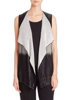 Lafayette 148 New York Two-Tone Pleated Stretch Vest