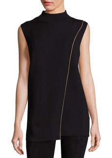 Lafayette 148 New York Two-Tone Sleeveless Crossover Sweater