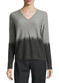 Lafayette 148 New York Two-Tone V-Neck Sweater
