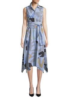 Lafayette 148 New York Urban Ethos Stripe Shirting Cordelia Dress