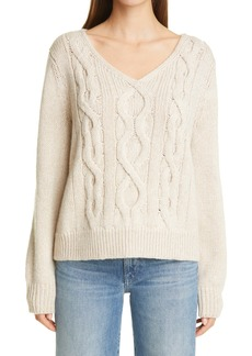 Lafayette 148 New York V-Neck Cable Sweater