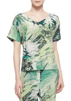 Lafayette 148 New York V-Neck Printed Tunic Top