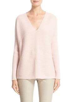 Lafayette 148 New York V-Neck Wool Flannel Sweater