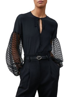 Lafayette 148 New York Val Lace Sleeve Blouse