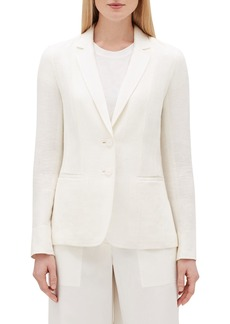Lafayette 148 New York Vangie Rattan-Weave Button-Front Linen Jacket