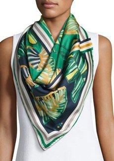 Lafayette 148 New York Vanguardia Palm-Print Silk Twill Scarf