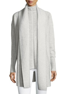 Lafayette 148 New York Vanise Long Ribbed-Trim Cashmere Cardigan