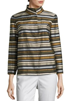 Lafayette 148 New York Vanna Cotton Striped Jacket