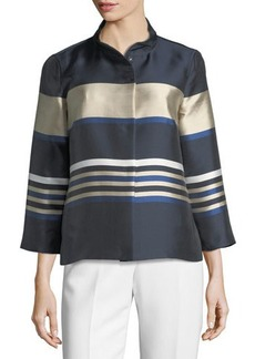 Lafayette 148 New York Vanna Mandarin-Collar Striped Satin Swing Jacket