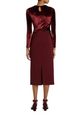 Lafayette 148 New York Velvet & Jersey Wrap Dress