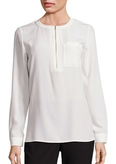 Lafayette 148 New York Veronica Silk Zip-Front Blouse