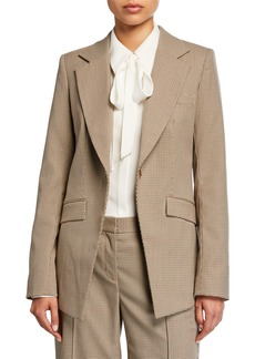 Lafayette 148 New York Virginia Navigator Micro Check One-Button Blazer