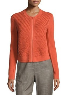 Lafayette 148 New York Wave-Stitch Zip-Front Sweater