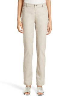 Lafayette 148 New York Waxed Denim Slim Leg Jeans (Regular & Petite)