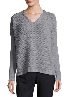 Lafayette 148 New York Weave-Knit Panel Sweater