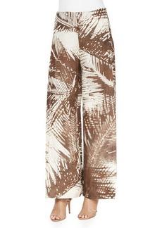 Lafayette 148 New York Wide-Leg Leaf-Print Pants W/ Overlay