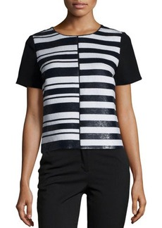 Lafayette 148 New York Willa Short-Sleeve Striped Top
