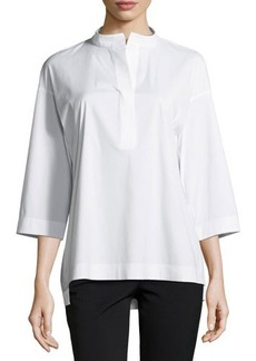 Lafayette 148 New York Winnie Band-Collar Poplin Blouse