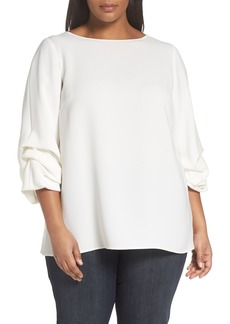 Lafayette 148 New York Winston Finesse Crepe Blouse (Plus Size)