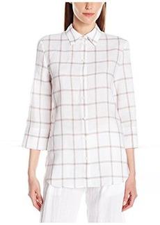 Lafayette 148 New York Women's 3/4 Sleeve Turn Up Cuff Shirt  P