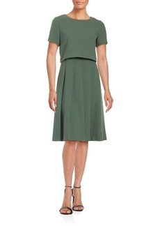 Lafayette 148 New York Wool Blend Top & Pleated Skirt Set