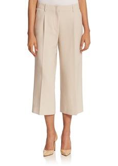 Lafayette 148 New York Wool Crepe Cropped Wide-Leg Pant
