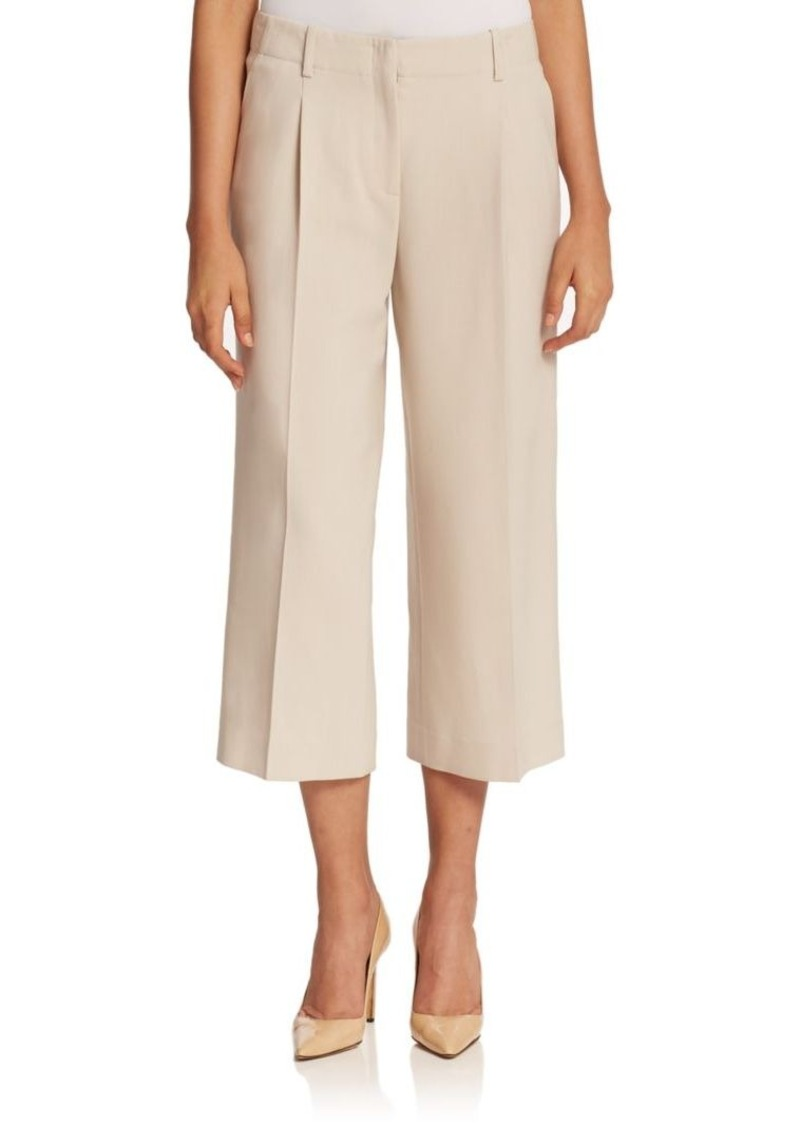 Lafayette 148 New York Wool Crepe Cropped Wide-Leg Pant