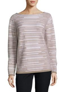 Lafayette 148 Wool Flannel Striped Sweater