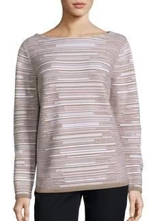 Lafayette 148 New York Wool Flannel Striped Sweater