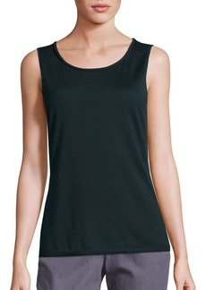 Lafayette 148 New York Wool Scoopneck Rolled Detail Tank Top