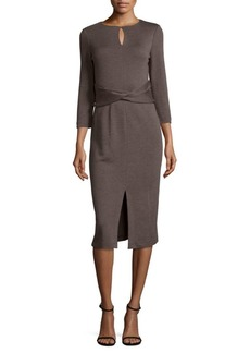 Lafayette 148 Wrap Front Wool Dress