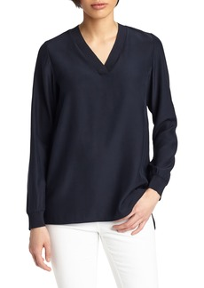 Lafayette 148 New York Wyatt Knit Trim Matte Silk Blouse