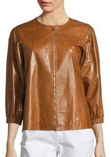 Lafayette 148 New York Wylie Lacquered Leather Jacket