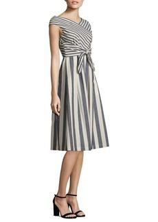 Lafayette 148 New York Ximena Striped Tie-Front Dress