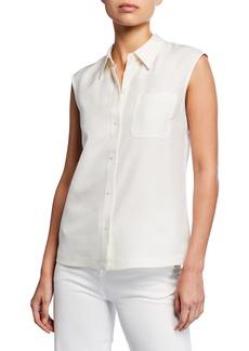 Lafayette 148 New York Yani Sleeveless Button-Front Blouse