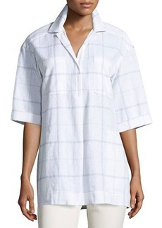 Lafayette 148 New York Yohanna Lacombe Windowpane Blouse