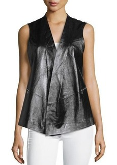 Lafayette 148 New York Yoko Contrast-Back Leather Vest
