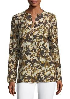 Lafayette 148 New York Zalina Long-Sleeve Earthen Texture Silk Blouse