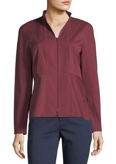Lafayette 148 New York Zip-Front Blouse W/ Stand Collar