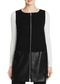 Lafayette 148 New York Zip Front Mixed Media Vest