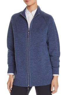 Lafayette 148 New York Zip-Front Plaited Cardigan