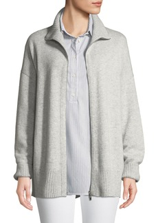 Lafayette 148 New York Zip-Front Relaxed Cashmere Cardigan Jacket