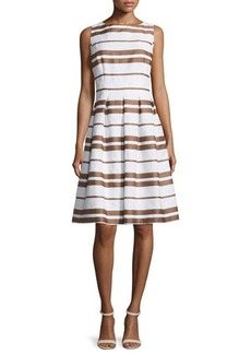 Lafayette 148 New York ZOE Zoe Sleeveless Striped Pleated Dress