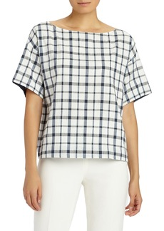 Lafayette 148 New York Zuri Plaid Blouse