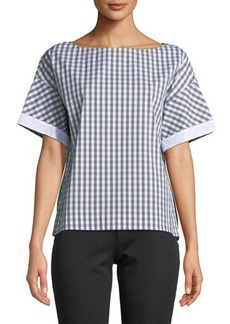 Lafayette 148 New York Zuri Plaid Short-Sleeve Blouse