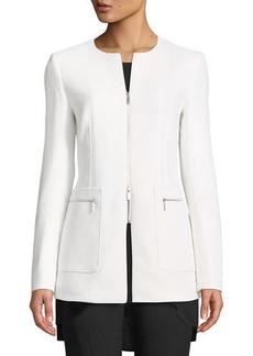 Lafayette 148 Landon Nouveau Crepe Wool Zip Jacket